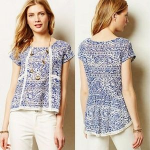 Meadow Rue   Blue/Cream Crochet Hi-Low Flores Top